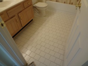 Before - Mold undetected under tile floor